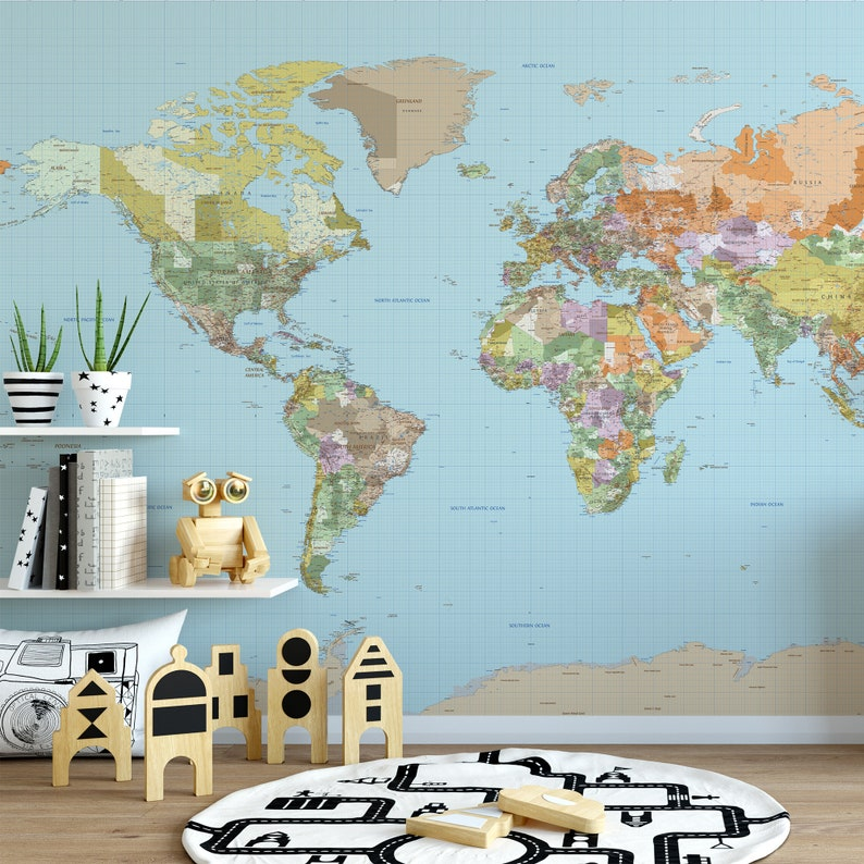 WORLD ATLAS Political MAP Mural Wall Decal Poster Vinyl or Fabric Geography on map mural room, pirate map mural, map wallpaper, map wall house, nashville mural, map wall art, map wall decal, map wall lighting, antique map mural, us patriotic mural, historic victorian wallpaper mural, map home decor, map wall stencil, map facebook covers, new york skyline wallpaper mural, noah's ark mural, create a mural, old mural, map wall mirror, map wall graphics,