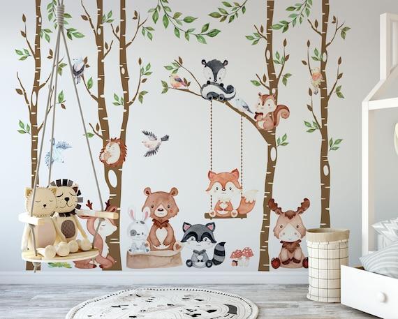 Woodland Decor Nursery Baby Wall Decals 4 Trees 9 Animals 6