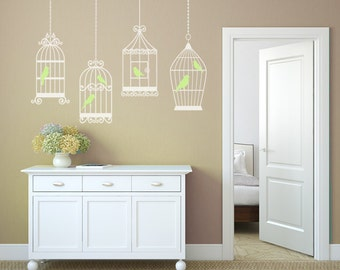 6 BIRDS 4 CAGES Decals Removable Wall Art Vinyl Dinning Living Room Nursery Birdcage Birds Fabric Decal