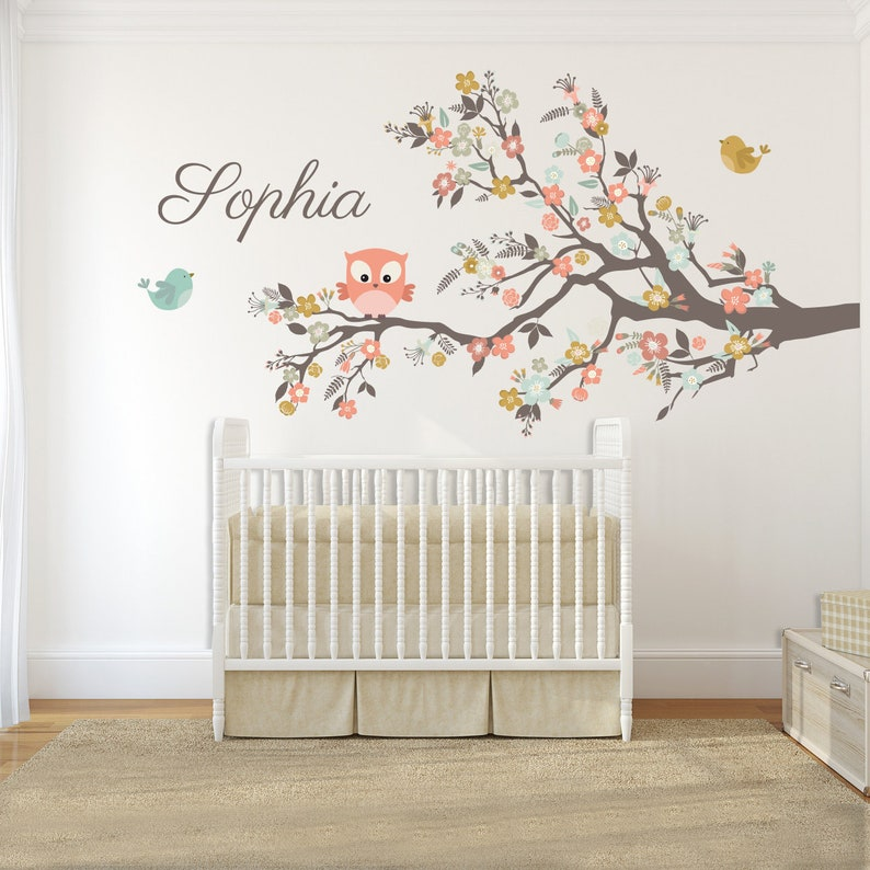 Admirable Girls Nursery Wall Decals Woodland Animals Tree Branch Flowers Owl Sticker Printed Vinyl Kids Personalized With Name Baby Room Decor Download Free Architecture Designs Rallybritishbridgeorg