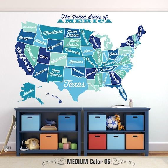 United States Map Wall Mural.United States Map Decal Usa Map Sticker State Map Wall Etsy