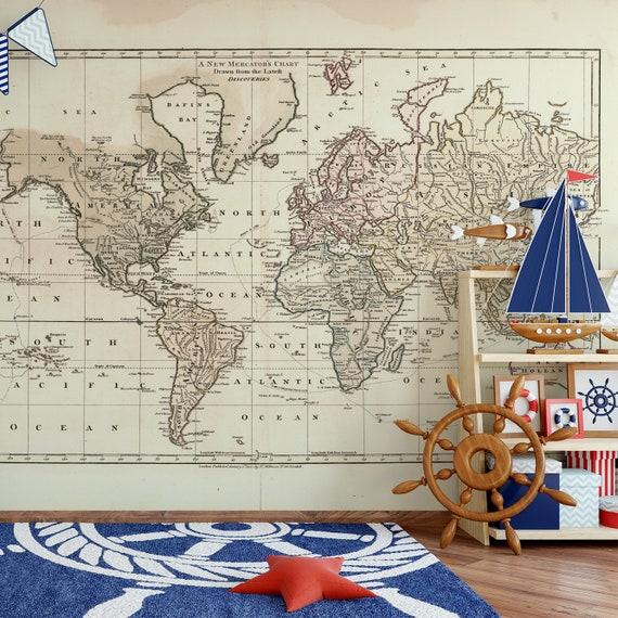 Wall Mural Vintage 1800 World Atlas Map Nursery Mural Old Map Etsy
