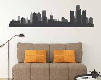Cityscape Decal DETROIT MICHIGAN Skyline Wall Decal Vinyl Football Basketball Team Colors Decor