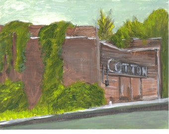 Small, Acrylic painting, Old Cotton Factory, old abandoned building, retro, old mill, vintage buildings, wall art, decor, mantle