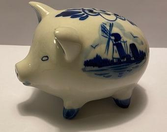 Delft Holland Vintage Blue /& White Ceramic Chubby Boy Dutch Figurine 5.5 Piggy Bank