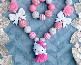 Hello Kitty Necklace, Princess Kitty Necklace, 2 of a Kind Bubblegum Necklace, Chunky Necklace, Hello Kitty Princess Necklace, Girls Jewelry