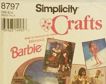 Simplicity 8797 - Barbie Doll Clothes Pattern - UNCUT - Wedding Dress, Tuxedo, Christmas Clothes, and More