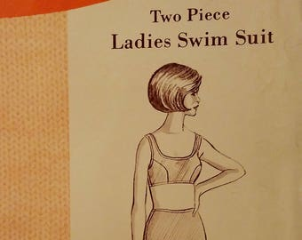 Sew-Knit-N-Stretch Pattern #153 - Vintage Two Piece Ladies Swim Suit - Sizes 14, 16, and 18