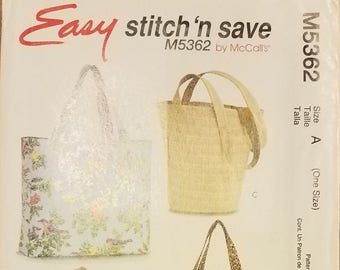 McCall's 5362 - Tote Bag Pattern - Bucket Bag Pattern - Barrel Bag Pattern - Easy Stitch 'n Save Pattern - Fashion Accessories