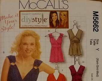 McCall's 5662 - Misses Top, Tunic, and Dress Pattern - Sizes Extra Small, Small, and Medium - Ladies Shirt Pattern - Design it Yourself