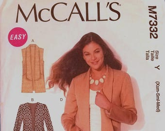McCall's 7332 - Misses' Vest and Jacket Pattern - Sizes Extra Small, Small, and Medium - Ladies and Women's Easy Vest and Jacket Pattern