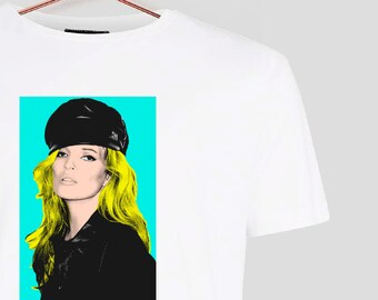 Pop Art KATE MOSS TEE in White 100% Cotton