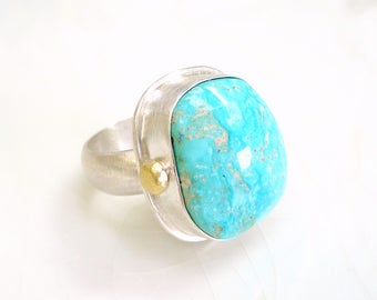 Blue Gem Turquoise Ring - Sterling Silver, 14k Gold Accent, Size  7.25