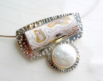 Mid-Century Crazy Lace and Pearl Pendant - Sterling Silver, 18k and 14k Gold - One of a Kind Statement Piece