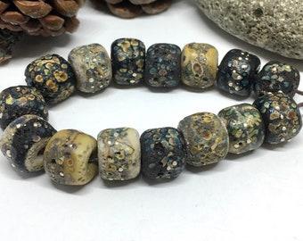 Lampwork Rustic 6 Black Glossy Raku Bicone Beads