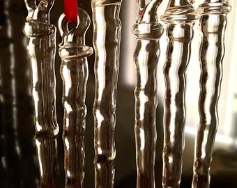 """NEW Glass Icicles, Longer, 1 to 6 Handmade 8"""", Realistic Icicles, Holiday Ornament, Home Decoration"""