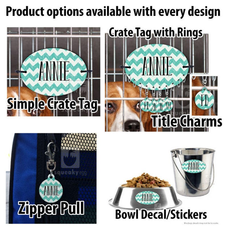 Crate Tag with Rings Taylor Matching Dog Crate Set Crate Tag Bowl Labels Crate Tag and Additional Matching Products Zipper Pull