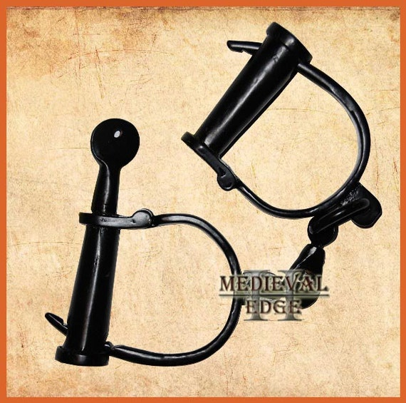 Iron Handcuffs Antique Style Police Shackles Props New Police Chrom HandCuff