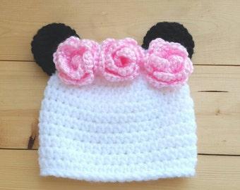 Baby panda hat - crochet panda hat - panda ears - newborn panda hat - toddler panda hat - panda beanie - panda baby hat - floral panda hat