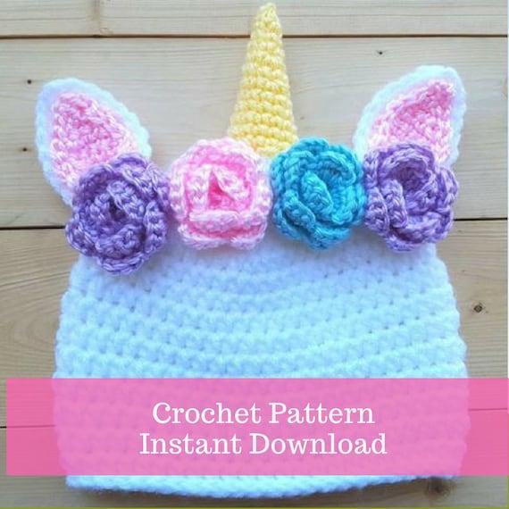 Crochet Unicorn Hat Pattern - crochet baby hat - crochet instant download-  crochet newborn prop pattern 07be54cde2f