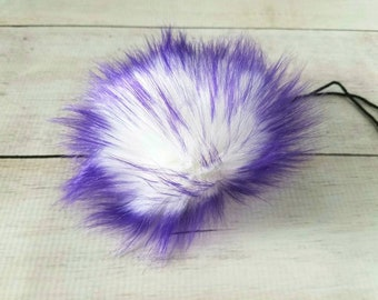 Purple faux fur pom pom - fake fur pom - pom for hat