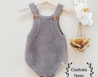 7ce1bb0e846 Simply Knit Romper   Baby Onesie   Knitted Overalls   Baby Boy Romper   Baby  Girl Romper