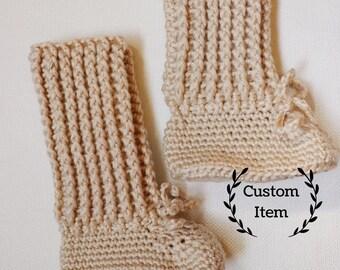 High Top Crochet Baby Booties / Newborn Baby Boots / Crochet Baby Uggs