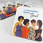 Coasters | Friendship Refreshes the Soul drink coaster set | African American women coasters black art designs by Robyn Y Palmer