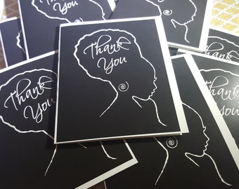 Thank You note card set features African American woman silhouette. Great for stationery lovers chic occasion. Writers Silhouette Collection