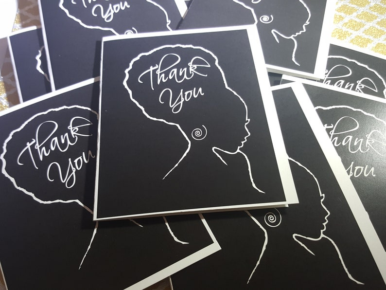 Thank You note card set features African American woman image 0
