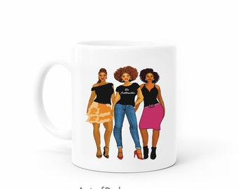 Afro Soul mug. Be Authentic gift features African American women friendship black girl art images 11 oz mug. Natural and beautiful