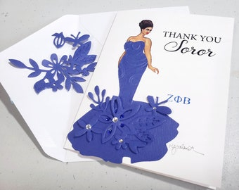 Thank you Soror Stationery Gift. Welcome. Invitations. Blank note cards. Embellished. Sisterhood inspiration.