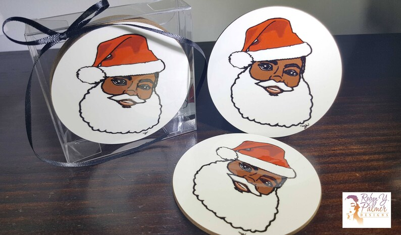 Coaster Set  Black Santa coaster set  Home Decor  Gifts image 0