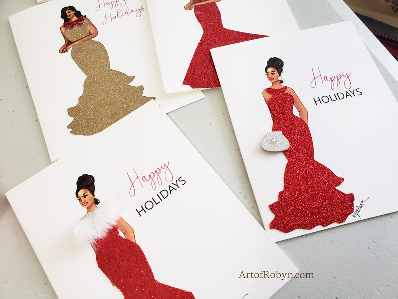Christmas Cards  Blank African American greeting card set of image 0