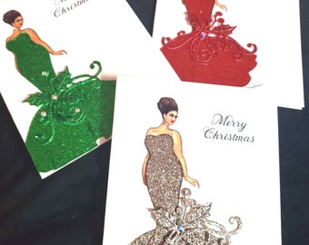 Christmas Cards that Sparkle with Glitter. Hand Embellished. Luxury Stationery Gift. 6 Frameable art cards.