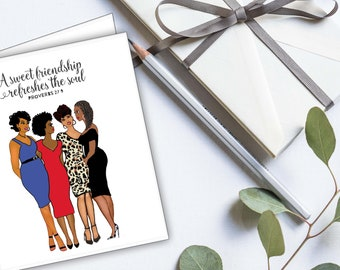 Friendship Notecards. African American illustrations 8 Blank cards Frameable cards Stationery gift set Friendship Sisterhood Sorority Church