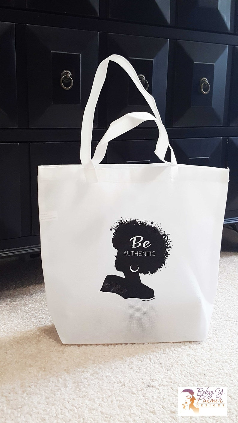 Afro Tote Bag  Be Authentic Black Woman Silhouette Tote Bag image 0