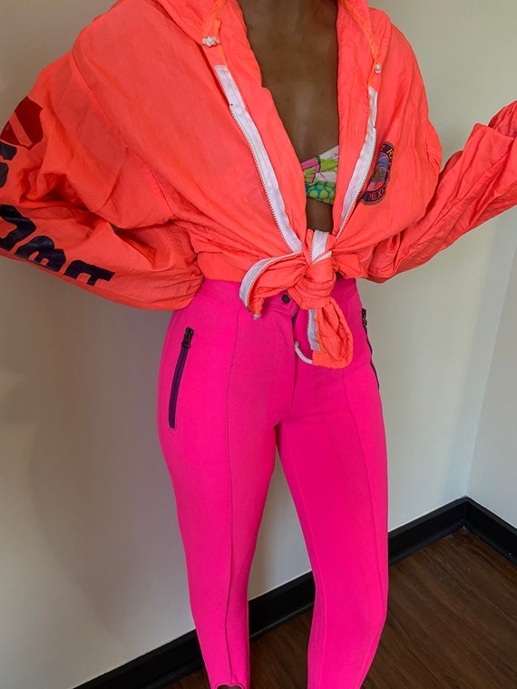 80s/90s Vintage Hot Neon Pink Ski Pants