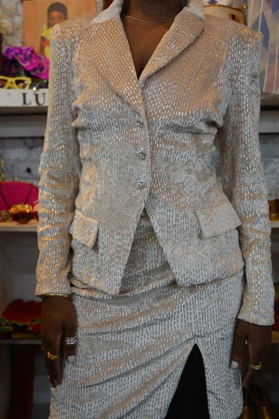 80s/90s Vintage Beaded Velvety Vintage Cache Skirt