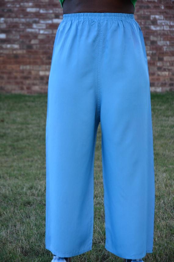 Antique 1950s 1960s Vintage Blue Silky Pajama Pant