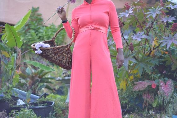 70s Hot Pink Palazzo Jumpsuit- Size M/L