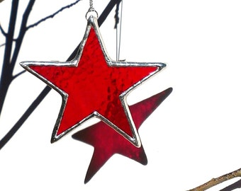 Red Stained Glass Star Suncatcher Patriotic Sun Catcher Holiday Ornament Home Decor