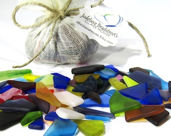 "Tumbled ""Sea Glass"" Pieces, Manmade Machine Tumbled Stained Glass, Smooth Mosaic Glass, 3 oz Package, Color Assortment, Over 100 Pieces"