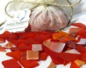 Orange Tumbled Stained Glass Pieces, Manmade Sea Glass, Mosaic Tesserae, 3 oz Bulk Package, Over 50 Pieces