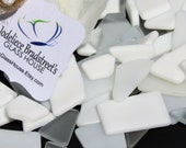 White and Clear Tumbled Stained Glass, Manmade Sea Glass, Smooth Mosaic Tesserae, 3 oz Bulk Package, Over 50 Pieces