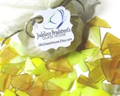 Yellow Tumbled Stained Glass, Manmade Sea Glass, Smooth Mosaic Tesserae, 3 oz Bulk Package, Over 50 Pieces