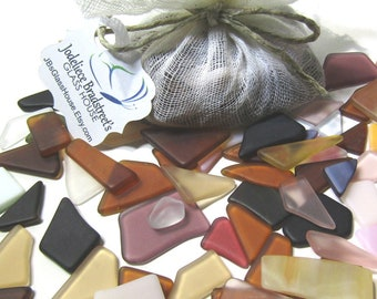 White and Clear Tumbled Stained Glass Smooth Mosaic Tesserae Over 50 Pieces Manmade Sea Glass 3 oz Bulk Package