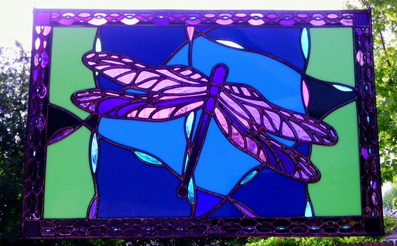 Dragonfly Stained Glass Panel Purple Blue and Green 21 image 0