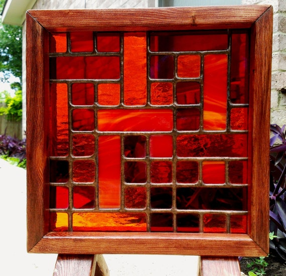 Vidriera del Panel Naranja abstracto geométrico arte enmarcado
