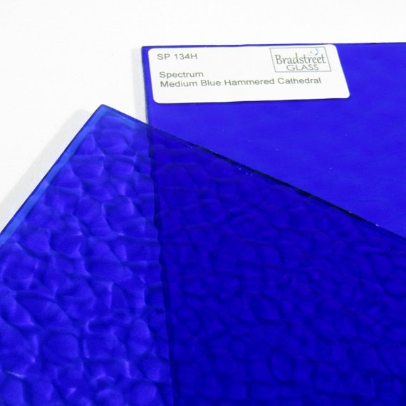 Stained Glass Sheet 8x4 Medium Blue Hammered Cathedral Sheet Glass Art Glass Supplies Spectrum 134H